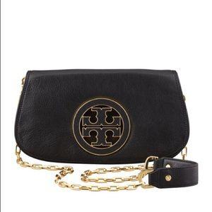 NWT Tory Burch Amanda Miller Black Leather Bag